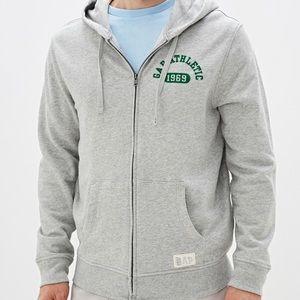 Gap Athletic Logo Full Zip Hoodie Grey Sweater